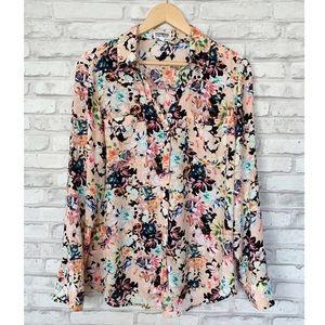 Express Floral Portofino Button Down Shirt Large